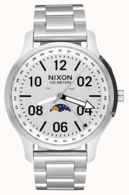 Nixon Восходящее устройство | все серебро | браслет из нержавеющей стали | белый циферблат A1208-1920-00