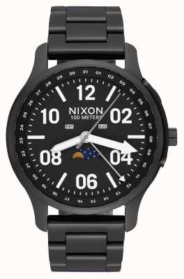 Nixon Восходящее устройство | черный / люм | черный стальной браслет ip | черный циферблат A1208-2474-00