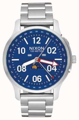 Nixon Восходящее устройство | серебристый / синий | браслет из нержавеющей стали | синий циферблат A1208-722-00