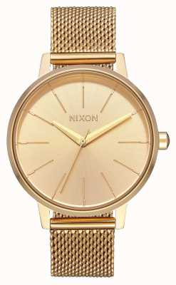 Nixon Kensington milanese | все золото | золото ip стальная сетка | золотой циферблат A1229-502-00