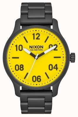 Nixon Патруль | все черное / желтое | черный стальной браслет ip | желтый циферблат A1242-3132-00
