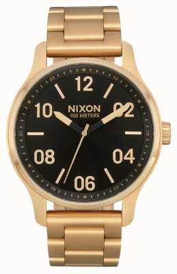 Nixon Патруль | золото / черный | золотой браслет из стали ip | черный циферблат A1242-513-00