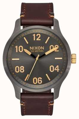 Nixon Патрульная кожа | бронза / золото | коричневый кожаный ремешок | циферблат из бронзы A1243-595-00