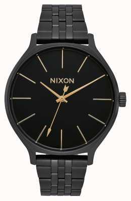 Nixon Клика | все черное | черный стальной браслет ip | черный циферблат A1249-001-00