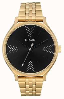 Nixon Клика | золото / черный / серебро | золотой браслет из стали ip | черный циферблат A1249-2879-00