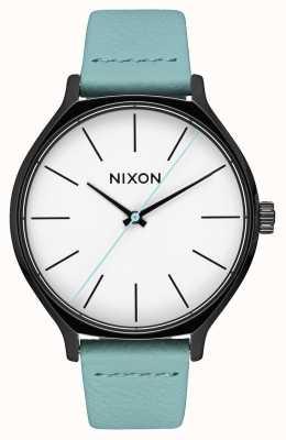 Nixon Кожа Clique | черный / мята | мятно-зеленый кожаный ремешок | белый циферблат A1250-3317-00