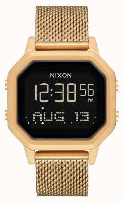 Nixon Сирена миланская | все золото | цифровой | золотой браслет из стальной сетки A1272-502-00