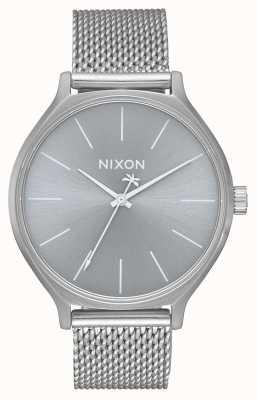 Nixon Clique milanese | все серебро | браслет из нержавеющей стали | серебряный циферблат A1289-1920-00