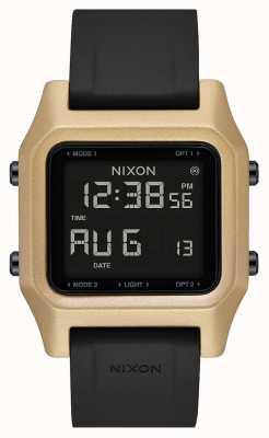 Nixon Скоба | черный / золотой | цифровой | черный силиконовый ремешок A1309-010-00