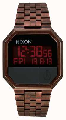 Nixon Повторный запуск | античная медь | цифровой | браслет из стали IP цвета меди A158-894-00