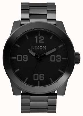 Nixon Капрал сс | все черное | черный стальной браслет ip | черный циферблат A346-001-00