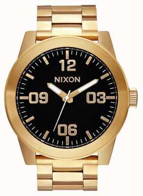 Nixon Капрал сс | все золото / черный | золотой браслет из стали ip | черный циферблат A346-510-00