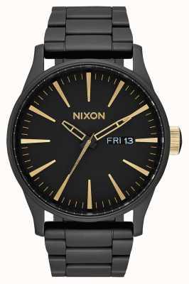 Nixon Sentry ss | матовый черный / золотой | черный стальной браслет ip | черный циферблат A356-1041-00