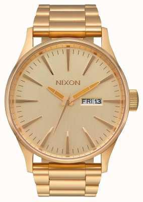 Nixon Sentry ss | все золото | золотой браслет из стали ip | золотой циферблат A356-502-00