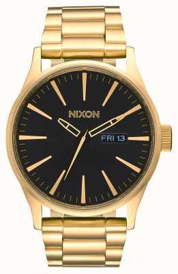 Nixon Sentry ss | все золото / черный | золотой браслет из стали ip | черный циферблат A356-510-00