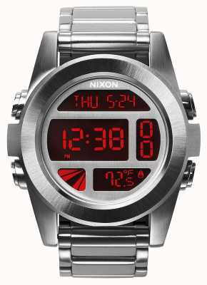 Nixon Единица сс | серебристый / красный | цифровой | браслет из нержавеющей стали A360-1263-00