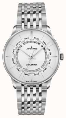 Junghans Сапфировое стекло Meister worldtimer | браслет из нержавеющей стали | серебряный циферблат 027/3011.46