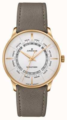Junghans Сапфировое стекло Meister worldtimer | коричневый кожаный ремешок | серебряный циферблат 027/5012.02