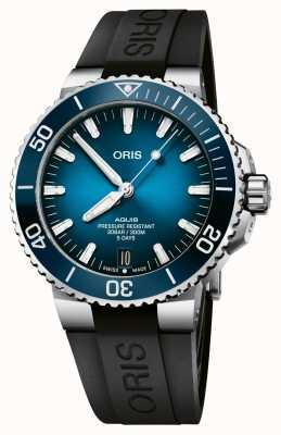 ORIS Аквисская дата | калибр 400 120 часов | силиконовый ремешок | синий циферблат 01 400 7763 4135-07 4 24 74EB