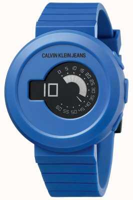 Calvin Klein Дигирок для мужчин | синий силиконовый ремешок | черный циферблат KAN51YV1
