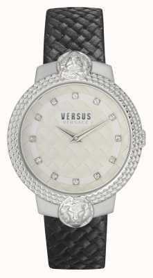 Versus Versace | женские | муффетард | черный кожаный ремешок | белый циферблат | VSPLK1120