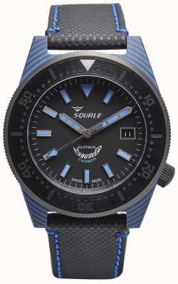 Squale Карбоновый стиль | черный / синий циферблат | черный ремешок из микрофибры - синяя прострочка T183BL-CINT183BL