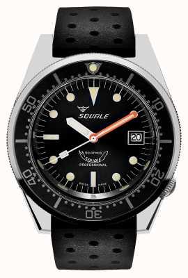 Squale 1521 классика | черный ремешок в стиле тропиков | черный циферблат 1521CL-CINTRB20