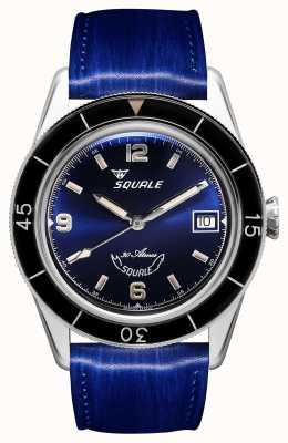 Squale 60 лет синему | к югу от 39 | синий кожаный ремешок | синий циферблат SUB39BL-CINSQ60BL