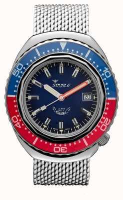 Squale 2002a сине-красный | ремень из стальной сетки | синий циферблат B083401-CINSS22