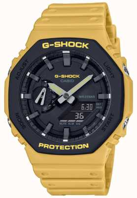 Casio | g-шок | углеродное ядро | многослойный безель | желтый каучуковый ремешок | GA-2110SU-9AER