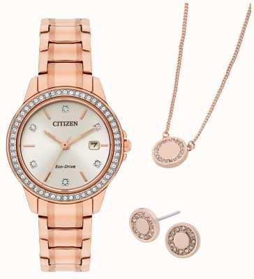 Citizen Часы и украшения Eco-drive с покрытием из розового золота, подарочный набор FE1173-52A