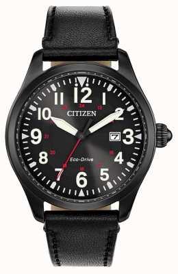 Citizen Военный экологический драйв мужского гарнизона | черный кожаный ремешок BM6835-15E
