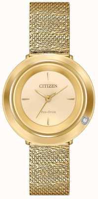 Citizen Женская амбилуна | браслет из сетки золотого тона | циферблат шампанского EM0642-52P