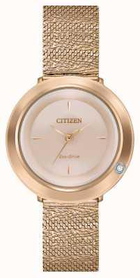 Citizen Женская амбилуна | сетчатый браслет из розового золота | перламутровый циферблат EM0643-50X