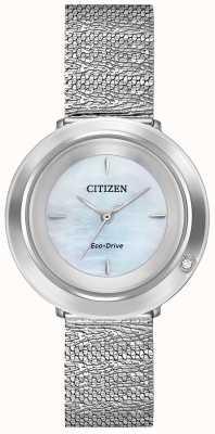 Citizen Женская амбилуна | браслет из стальной сетки | перламутровый циферблат EM0640-58D