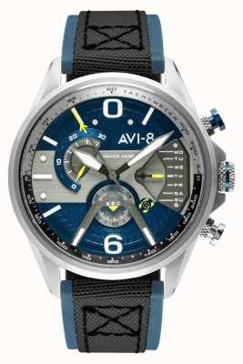AVI-8 Hawker harrier ii | хронограф | синий циферблат | синий кожаный черный ремешок нато AV-4056-01