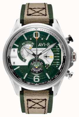 AVI-8 Hawker harrier ii | хронограф | зеленый циферблат | зеленый кожаный бежевый ремешок нато AV-4056-02