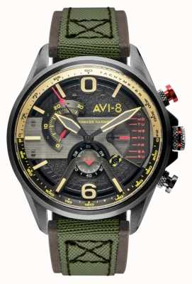 AVI-8 Hawker harrier ii | хронограф | серый циферблат | коричневый кожаный зеленый ремешок нато AV-4056-03
