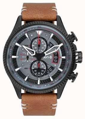 AVI-8 Охотник за хоукером | хронограф | серый циферблат | коричневый кожаный ремешок AV-4064-03