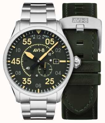 AVI-8 Спитфайр | автоматический | браслет из нержавеющей стали с зеленым циферблатом | дополнительный кожаный ремешок AV-4073-22