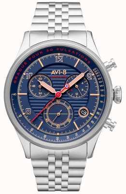 AVI-8 Flyboy lafayette | хронограф | синий циферблат | браслет из нержавеющей стали AV-4076-22