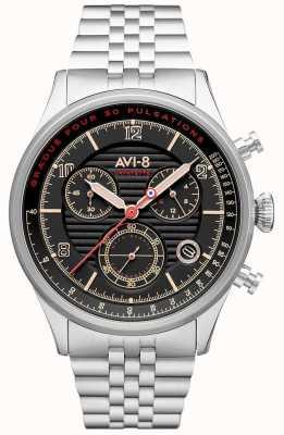 AVI-8 Flyboy lafayette | хронограф | черный циферблат | браслет из нержавеющей стали AV-4076-33