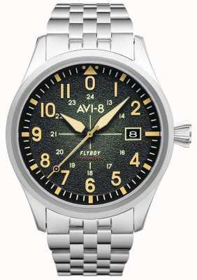 AVI-8 Flyboy | автоматический | зеленый циферблат | браслет из нержавеющей стали AV-4075-33