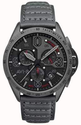 AVI-8 Мустанг P-51 | хронограф | серый циферблат | серый кожаный ремешок AV-4077-03