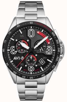 AVI-8 Мустанг P-51 | хронограф | черный циферблат | браслет из нержавеющей стали AV-4077-11