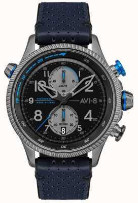 AVI-8 Охотник за хоукером | хронограф | черный циферблат | синий кожаный ремешок AV-4080-02