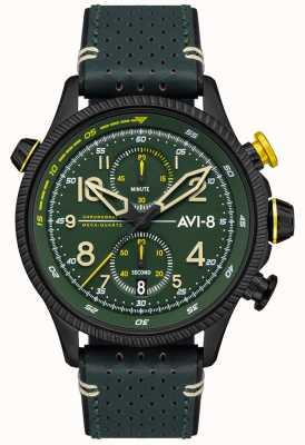 AVI-8 Охотник за хоукером | хронограф | зеленый циферблат | зеленый кожаный ремешок AV-4080-03