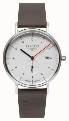 Bauhaus Коричневый кожаный мужской итальянский ремешок | белый циферблат 2130-1