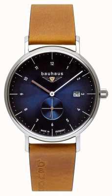 Bauhaus Мужской коричневый кожаный ремешок из итальянской кожи | синий циферблат 2130-3