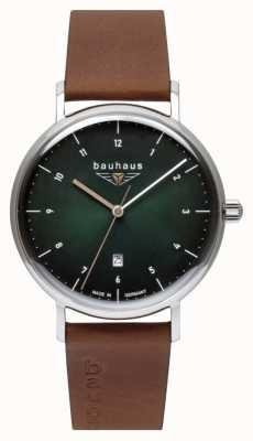 Bauhaus Мужской коричневый кожаный ремешок из итальянской кожи | зеленый циферблат 2140-4